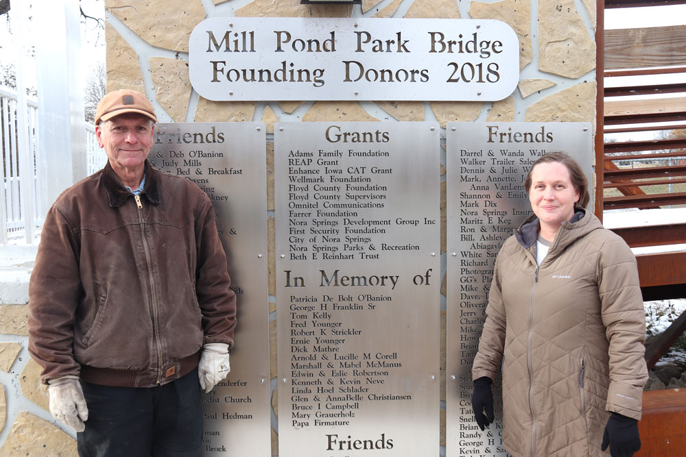Nora Springs Mill Pond Bridge now has pathway system to walk along river